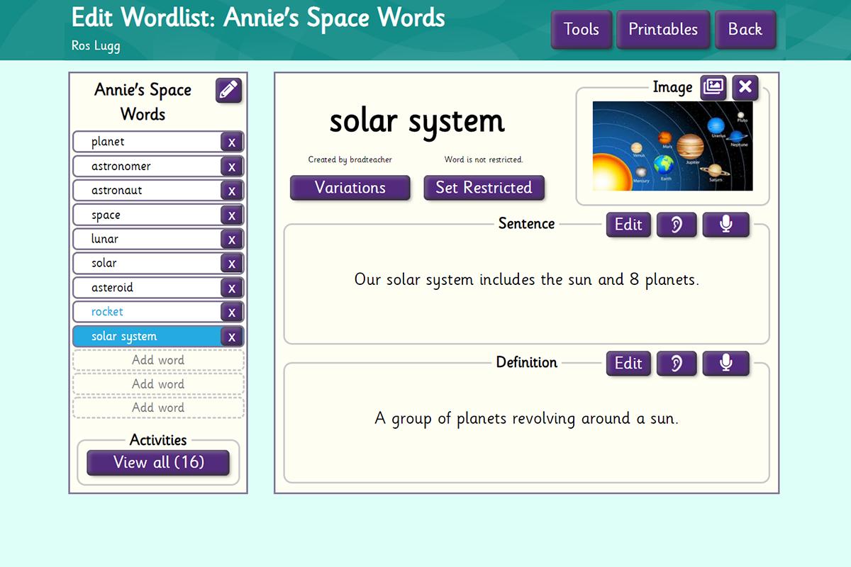 Annies space words